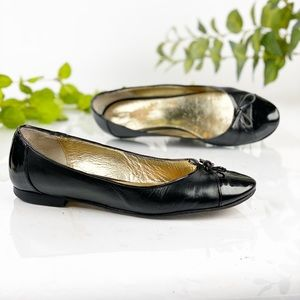 Andrea Carrano Black Leather Ballet Flat Round Toe